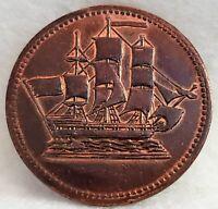 🍁 PEI Canada Ships Colonies & Commerce Half Penny Token BR997 PE-10-7 Canadian