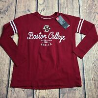 Under Armour Girls Youth NCAA Boston College Eagles Stripe Tee Shirt Long Sleeve