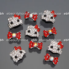 10 Pcs 3D Nail Art Deco Hello Kitty & Bow Knot Alloy Jewelry Glitter Rhinestone