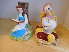 Disney Japan Beauty Beast Book Ends  Belle Mrs Potts Ceramic Vintage
