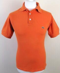 Mens Lacoste Polo Shirt Orange Size S Vintage Slim Fit Chemise *Exclusive* 1-20