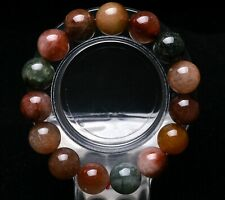 13.5mm Rare Natural Colorful Rabbit Hair Quartz Crystal Round Beads Bracelet AAA