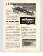 1957 PAPER AD Olsen Montgomery Yacht Corp Sports Cruiser Emancipators Motorboat