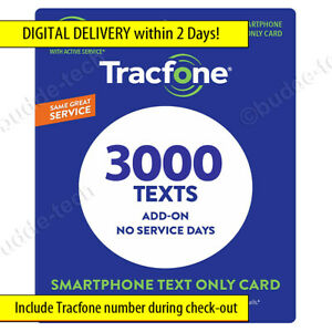 Tracfone Texts -> *LIMITED TIME 3000 TEXT MESSAGES* Direct add in 2 Days! (1000)
