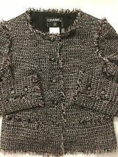 CLASSIC CHANEL 04P BLACK MULTI SEQUINS FANTASY FRINGE TWEED JACKET BLAZER 42 40