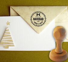 Sello de Caucho Feliz Navidad Personalizado 40 mm, Christmas, Sobres, Tarjetas