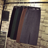 Winter Women Knit Stretch Elastic High Waist Split Casual Pencil Bodycon Skirt