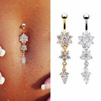 Navel Belly Button Rings Bar Crystal Rhinestone Dangle Body Piercing Jewelry YK