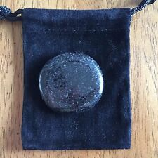 "One Nuummite Worry Stone or Palm Stone, aka ""Sorcerer's Stone"" with Black Pouch"