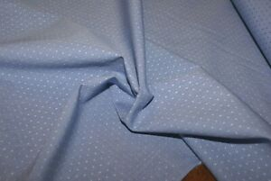 1m LIGHT BLUE WOVEN COTTON Fabric with Stitch Detail, Light Weight