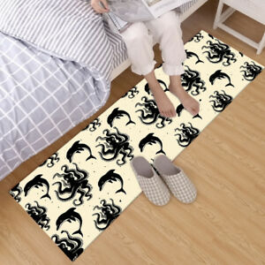 White & Black Dolphin Octopus Pattern Area Rugs Bedroom Living Room Floor Mat