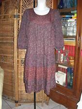 haut 104 cms robe fleurie  ample prune bordeaux tea dress flowers  T M 40