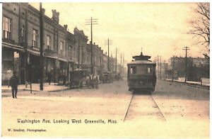 c. 1909 Greenville, Mississippi - Washington Ave. Looking West