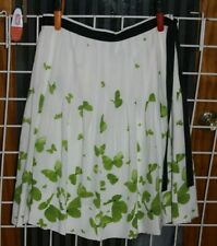 SIZE 10 GRACE ELEMENT WHITE WITH GREEN BUTTERFLIES PLEATED SILK SHIRT