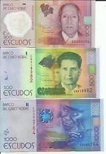 Cape Verde Lot Set 200-50-1000 Escudos 2014 P New. Unc. 5Rw 15Feb