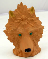 Decorative Terracotta Wolf Statuette with Woman in Mane Spirit Animal Indian Art