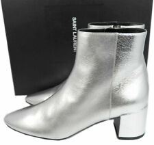 Ysl Saint Laurent Ankle Boots Loulou Silver Metalic Boot Leather 39 Booties