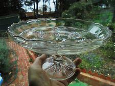 ANTIQUE ENGLISH DEPRESSION GLASS CAKE STAND STARBURST c1930