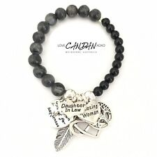 Love You Daughter Inlaw Infinity Heart Angel Feather Friendship Charm Bracelet