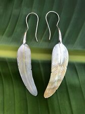 Long Feather Carved Mother Of Pearl Shell Earring .925 Sterling Silver Hook Boho