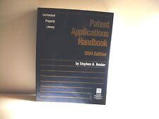 Patent Applications Handbook 2014 softcover ( Stephen A. Becker) FREE SHIP/GIFT