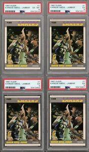 1987 FLEER BASKETBALL #1 KAREEM ABDUL-JABBAR LOT OF 4 PSA 5 x3 PSA 6 EX-MT x1
