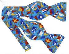 Nautical Flags Bow tie / Colorful Signal Flags on Teal Blue / Self-tie Bow tie