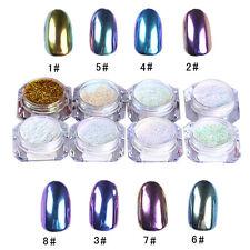 DIY 8 Colors Nail Glitter Mirror Powder Chrome Dust Nail Art Manicure Gel Polish