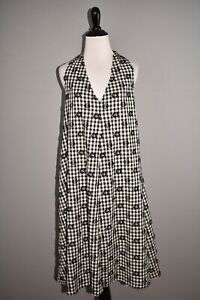 LOU & GREY NEW $128 Floral Clip Plaid A-line Dress in Black White Small