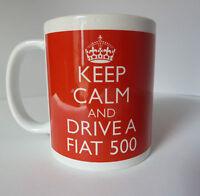 Personalised Keep Calm and Drive a Fiat 500 Mug Gift Christmas Birthday Present