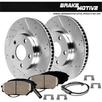 Front Kit Drilled And Slotted Brake Rotors /& Ceramic Pads For Sentra Versa