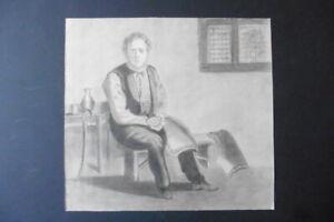 DUTCH SCHOOL 19thC - PORTRAIT OF AN ARMOR MAKER - MONOGR. PENCIL DRAWING
