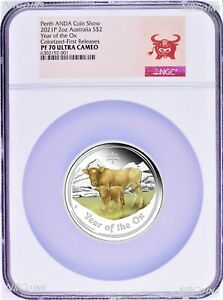 2021 ANDA EXPO PROOF Colored Silver Lunar Year of the OX NGC PF70 2oz $2 Coin FR