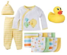 Gerber Baby Unisex 14-Piece Yellow Outfit, Washcloths & Rubber Ducky Bundle 0-3M