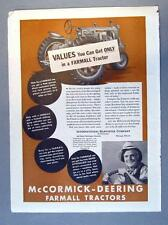 Original 1938 Tractor Ad THE MCCORMICK DEERING F-20 FARMALL VALUES YOU ONLY GET