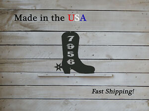Cowboy  Boot Vertical Address Plaque-Western Decor-House Numbers-HN1157