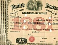 "1881  ""UNITED STATES"" (INTERNAL REVENUE) 1881 ""UNITED STATES"" IRS LIQUOR TAX !!!"