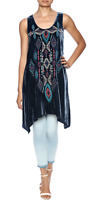 💕  Johnny Was JWLA AVEZA Embroidered VELVET Tunic Dress Denim Blue sz M 💕