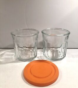 (2) Luminarc France 500 10-Panel Working Glass 14 oz Tumblers & (1) Orange Lid