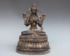 Tibet old purple Bronze Buddhist Maitreya Goddess Kwan-yin Buddha Figurine