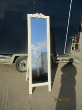 A Modern Shabby Chic Robing Mirror Cheval Full Height Standing Wooden Bow