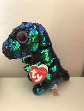 NEW RARE TY BEANIE BOO BOOS FLIPPABLES CRUNCH DINOSAUR SOFT PLUSH TOY