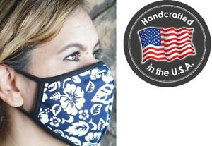 MADE IN USA, Face mask, Hawaiian White Flower Print mouth nose cover,100% Cotton