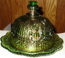 Antique Green Luster Iridescent Carnival Glass Rose Pattern Butter Dish