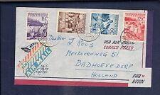 Netherlands Antilles 1951 Kinderzegels cover 25c rate pmk airport VLIEGVELD HATO