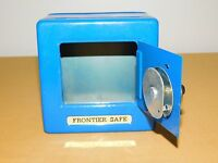 "VINTAGE TOY 5 1/4"" HIGH BLUE METAL COMBINATION FRONTIER SAFE"