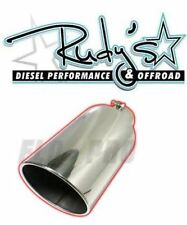 "Flo Pro 15"" Stainless Steel Exhaust Tip Rolled Edge Angle Cut 4"" Inlet 6"" Outlet"