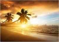 Exotic Beach Sunset Palms Large Poster Art Print A0 A1 A2 A3 A4 Maxi