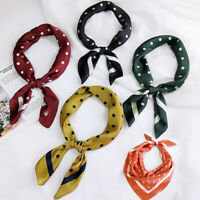 70*70cm Silk Head Neck Satin Scarves Hair Ties Band Fashion Dots Square Scarf