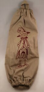 Beige Embroidered Plastic Grocery Bag Holder - Scarecrow - 16 Inches
